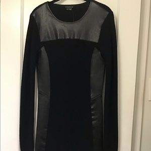 Theory Leather and Wool Mini Dress